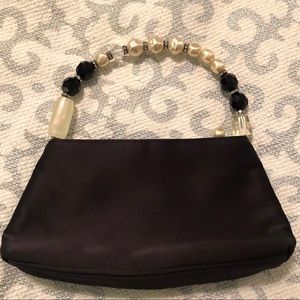 Vintage Cache Satin Bag / Clutch. Pearl handle.